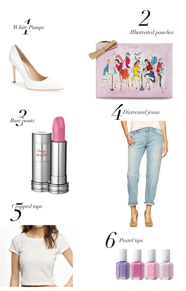 Spring Fashion-Lancome-White Pumps-Charles David-Kate Spade-Cropped Tops-Distressed Jeans-Gap-Essie nail polish